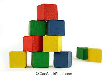 block building - building from wooden colourful childrens...