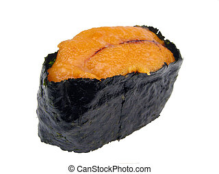 Sea urchin roe sushi. Very useful design element for a sushi...