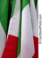 italianflags - Close up grouping Italian flags.