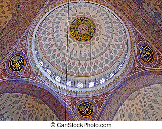 Mosque ceiling - Ceiling in the mosque inside dome