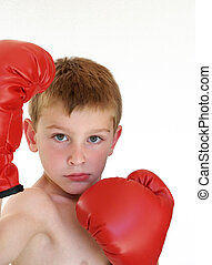 boy ready to box - young boy ready to box