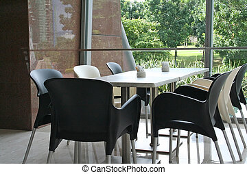 Modern cafe - Dining table in a cafe restaurant