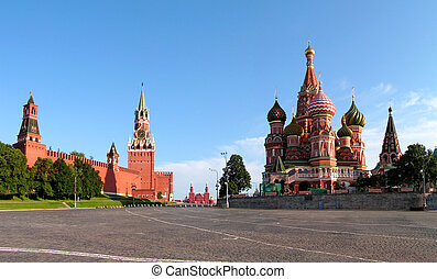 Moscow The red area Blessed Vasilys temple The Kremlin...