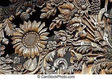 Wooden flower pattern-manual woodcarving