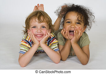 Young Laughter - A beautiful mixed race girl and a blonde...