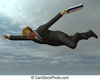 Businessman flying like superman 3D Render