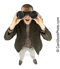 businessman with binoculars - business concept