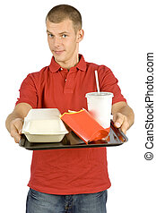 man with fast food tray - isolated man with fast food tray