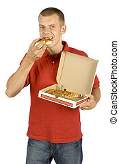 man eats pizza - isolated man eats pizza