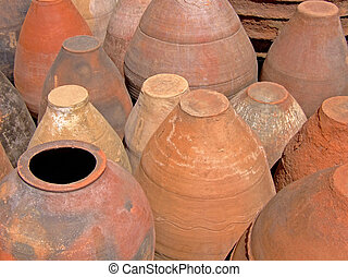Terracotta pots - Bunch of handmade terracotta pots
