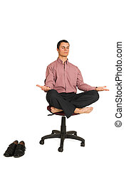 Business Yoga #184 - Business man fighting tension /...