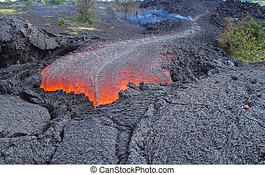 lava - fresh lava flow from a volcano