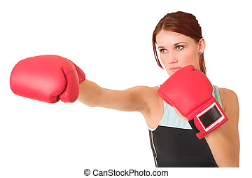 Gym #62 - Woman wearing boxing gloves.  Looking serious.