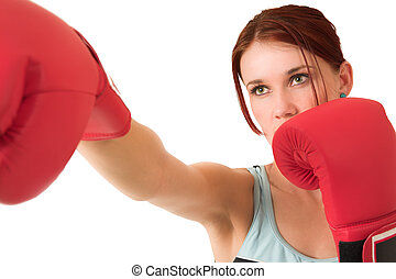 Gym #66 - Woman boxing, depth of field. Face in focus,...