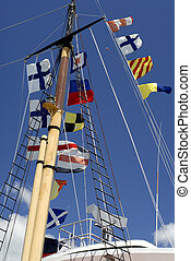 Ships Mast With Nav - Ship In Port Flying Naval Signal Flags...