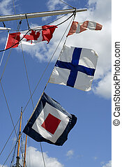 Ships Signal Flags - Ship\\\'s Flags Blowing In The Wind