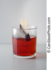 tea - glass with hot water and tea bags