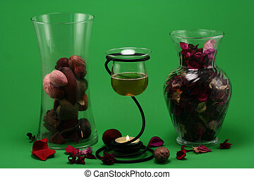 Aroma Therapy 4 - liquid potpourri, a vase of dried flower...