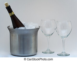 Champagne In Ice With Glasses - isolated champagne in ince...