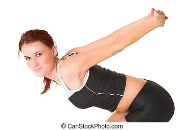 Gym #82 - Woman bending over, streching.