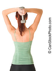 Gym #89 - Woman standing with weight behind her head.