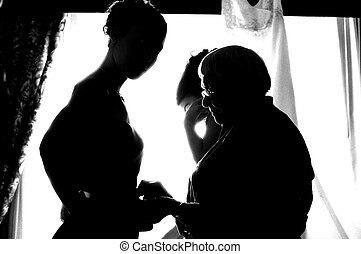 Getting dressed - Bridesmaids getting ready prior to wedding...