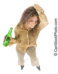 woman with beer - isolated woman with beer