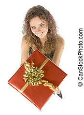woman with gift - isolated woman with gift