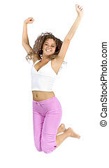 jumping woman - isolated jumping woman