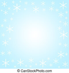 Snow flakes border on light blue
