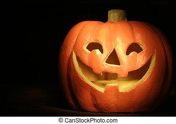 Jack-o-lantern - jack-o-lantern against a dark background.