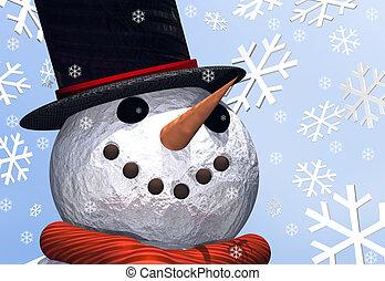 Snowman - A close up of a jolly snowman