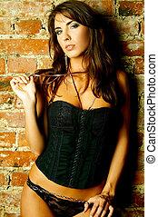 Black Lingerie - Sexy lingerie female model posing on...
