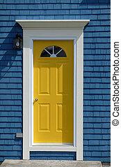 amarillo, frente, puerta