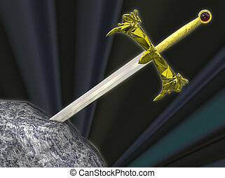 Sword - The legendary sword of King Arthur, embedded in the...