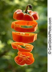 Sliced orange pepper