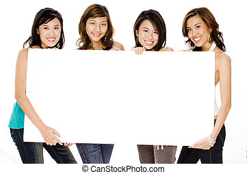 Girls And Blank Sign - Four attractive young asian women...