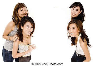 Asian Women and Blank Space - Four pretty asian women with a...