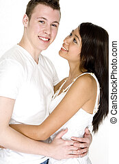 Guy With His Girl - A young man smiles to have his...