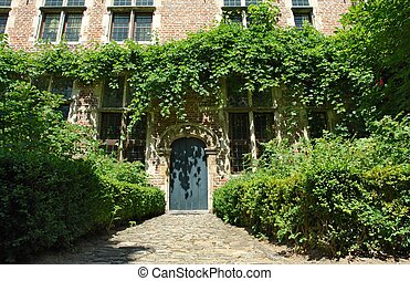 Medieval house - Facade of medieval Flemish house in the...