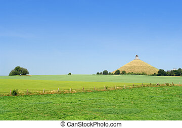 Waterloo battle-field. - The famous memorial hill on the...