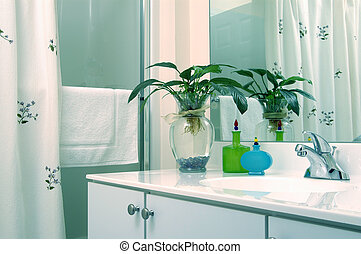 bathroom with plant - modern bathroom