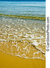 Yellow Beach - Yellow sandy beach with small, clear,...