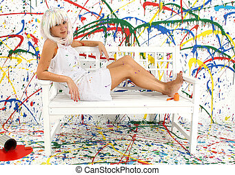 Artist - Beautiful 29 year old woman with white hair, white...