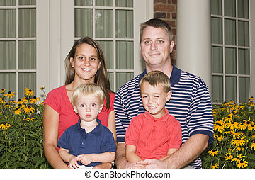 Happy Family - Family in casual photo outside