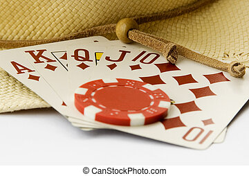 Gambling Texas Hold\'em Royal Flush - A chip is placed on a...