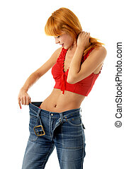 slim girl in big size jeans