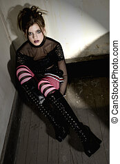 Goth Beauty - Beautiful teen girl in old apartment