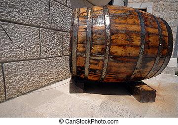 wine barrel croatia - old wine barrel indicating wine bar in...