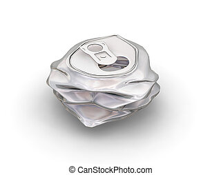 Crushed can - 3D render of a crushed can